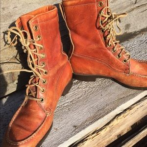 Vintage Shoes - Vintage Leather Lace-up Moc Toe Boots sz 8